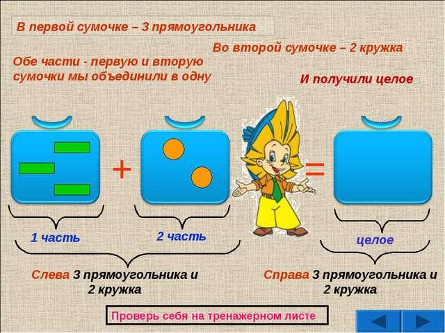 + = 1 часть 2 часть целое Обе части - первую и вторую сумочки мы объединили в...