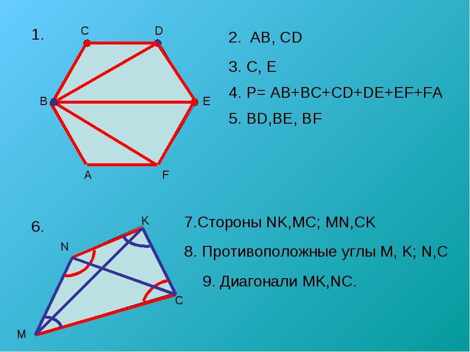 1. 5. BD,BE, BF 6. 8. Противоположные углы M, K; N,C 2. AB, CD 3. C, E 4. P=...