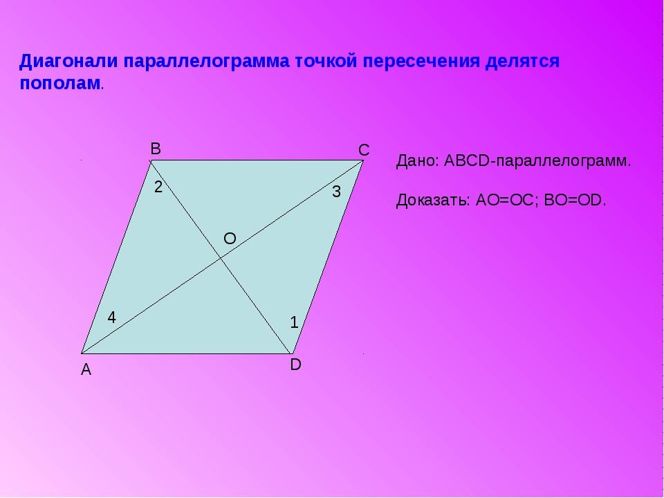 A B C D Диагонали параллелограмма точкой пересечения делятся пополам. О 1 2 4...