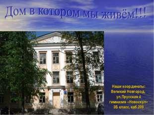 Наши координаты: Великий Новгород, ул.Прусская 4 гимназия «Новоскул» 3Б класс