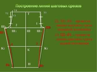22. Ш3 3Н1 – провести линию шагового среза передней половинки 23. Ш5 4Н2 - п
