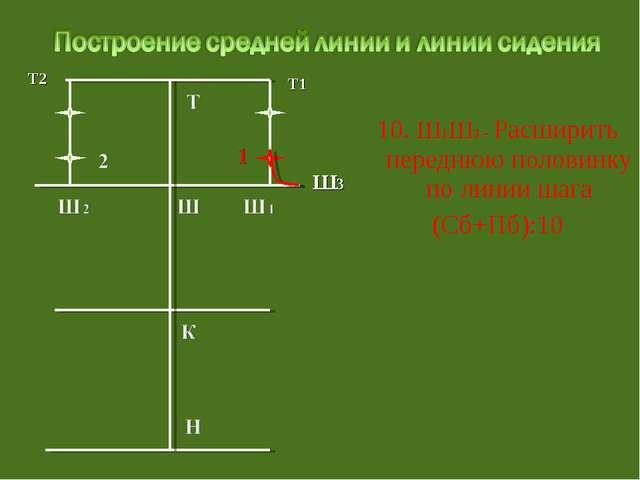 10. Ш1Ш3 - Расширить переднюю половинку по линии шага (Сб+Пб):10 Т2 Т1 Ш3