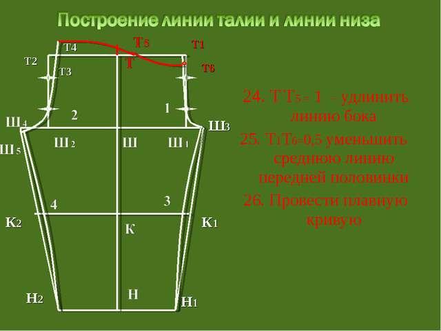 24. Т Т5 = 1 – удлинить линию бока 25. Т1Т6=0,5 уменьшить среднюю линию пере...