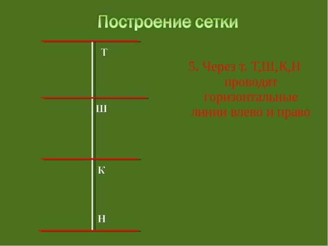 5. Через т. Т,Ш,К,Н проводят горизонтальные линии влево и право