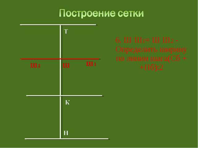 6. Ш Ш1= Ш Ш2 - Определить ширину по линии шага(Сб + +Пб):2
