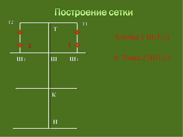 8.точка 1 Ш1Т1:3 9. Точка 2 Ш2Т2:3 Т2 Т1