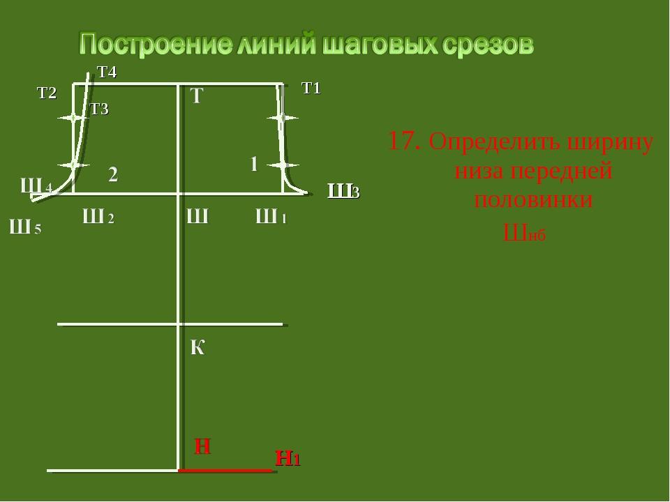 17. Определить ширину низа передней половинки Шнб Т3 Т1 Ш3 Т2 Т4 Н1