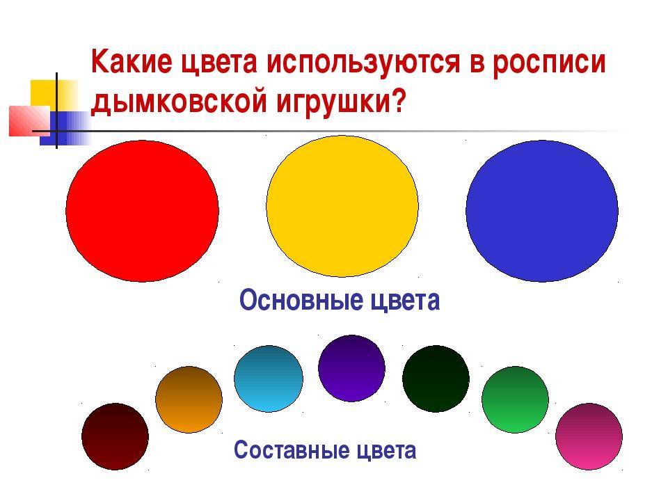 Какие цвета используются в росписи дымковской игрушки? Основные цвета Составн...