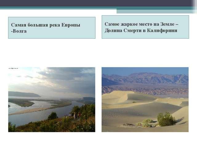 Самая большая река Европы -Волга Самое жаркое место на Земле – Долина Смерти...