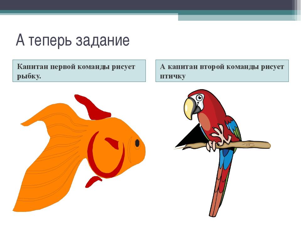 Капитан первой команды рисует рыбку. А капитан второй команды рисует птичку А...