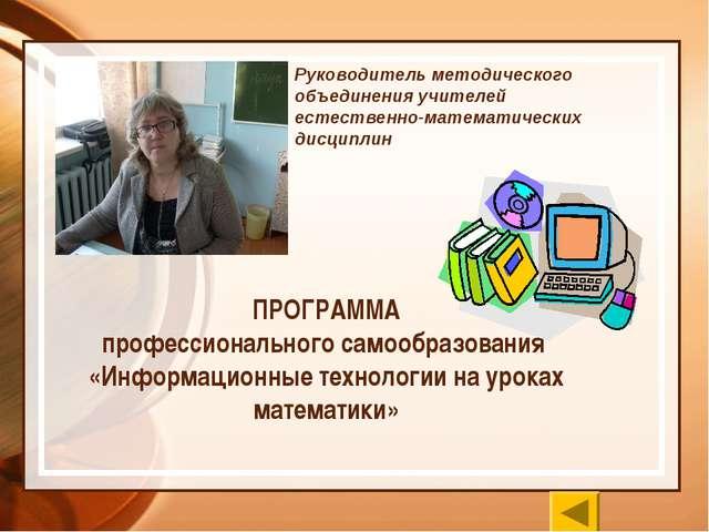 ПРОГРАММА профессионального самообразования «Информационные технологии на ур...
