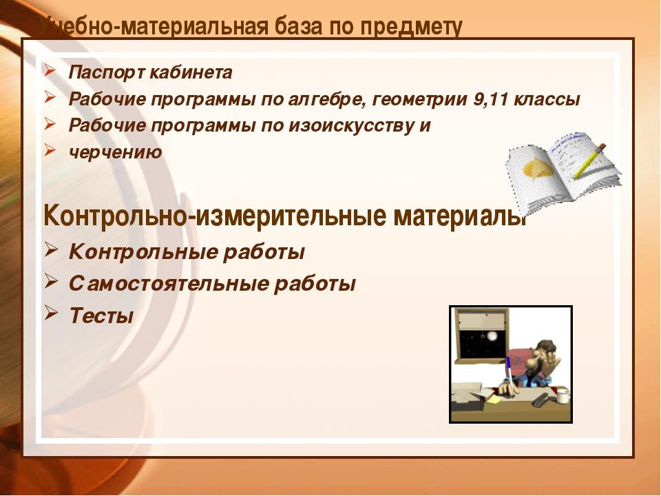 Учебно-материальная база по предмету Паспорт кабинета Рабочие программы по ал...