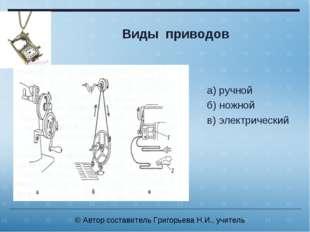 Виды приводов а) ручной б) ножной в) электрический © Автор составитель Григор