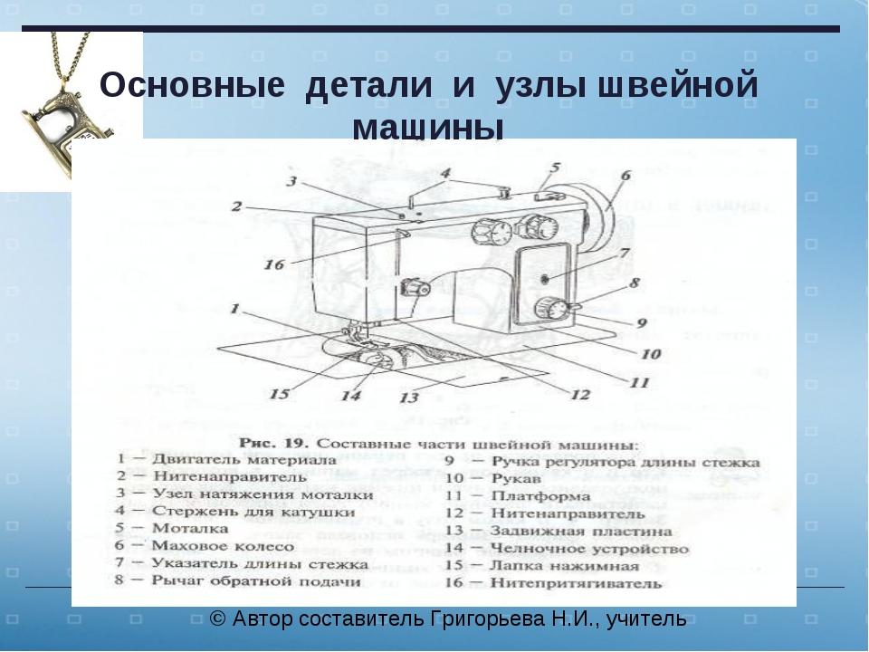 Основные детали и узлы швейной машины © Автор составитель Григорьева Н.И., уч...