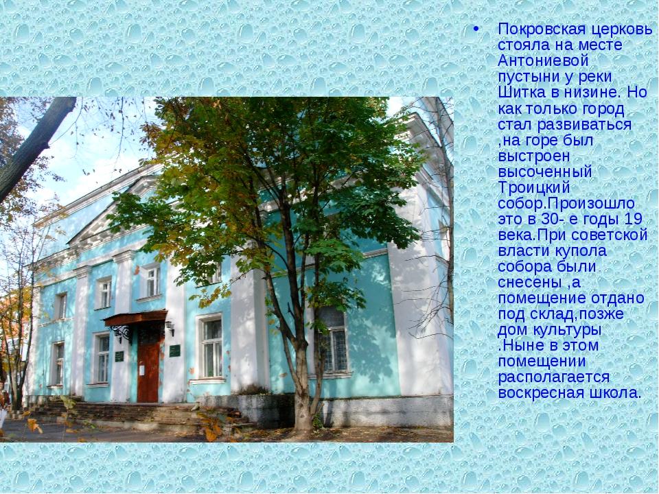 Покровская церковь стояла на месте Антониевой пустыни у реки Шитка в низине....