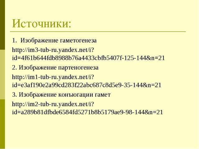 Источники: 1. Изображение гаметогенеза http://im3-tub-ru.yandex.net/i?id=4f61...