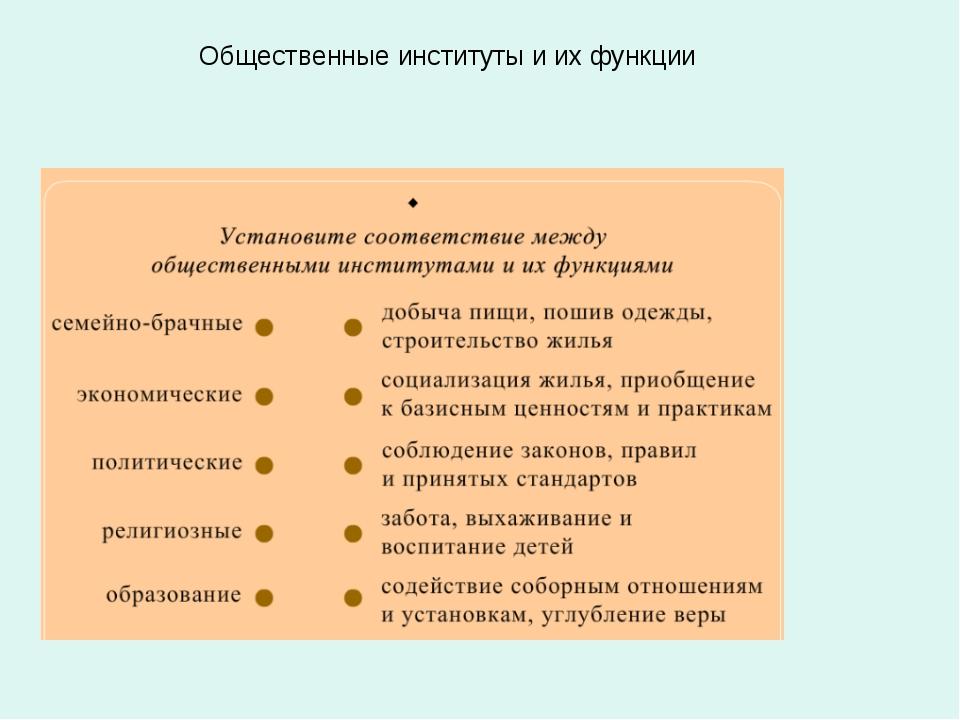 Общественные институты и их функции