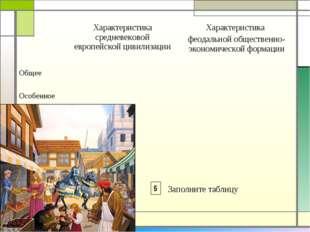 Заполните таблицу 5 Характеристика средневековой европейской цивилизацииХар