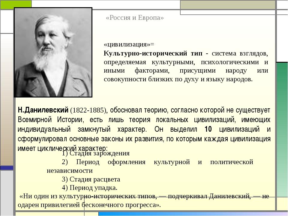 Н.Данилевский (1822-1885), обосновал теорию, согласно которой не существует В...
