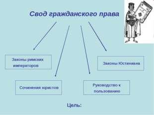 Свод гражданского права Законы римских императоров Сочинения юристов Руководс