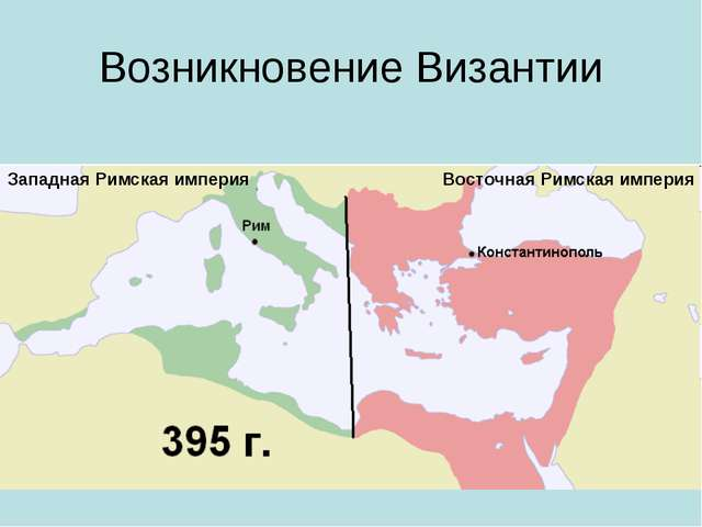 Возникновение Византии Восточная Римская империя Западная Римская империя