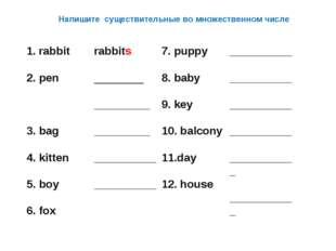 Напишите существительные во множественном числе 1. rabbit  2. pen  3. bag