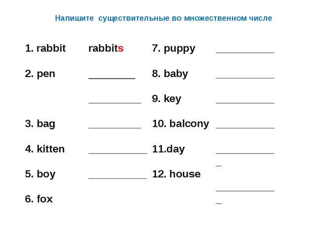 Напишите существительные во множественном числе 1. rabbit  2. pen  3. bag...
