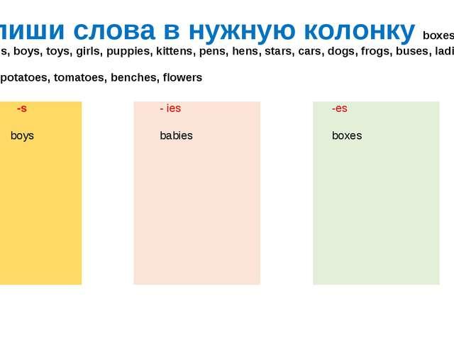 Впиши слова в нужную колонку boxes, babies, boys, toys, girls, puppies, kitte...