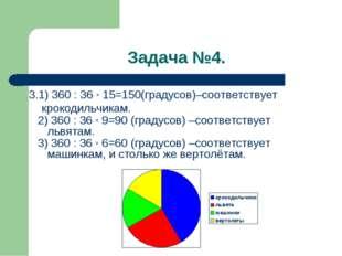 Задача №4. 3.1) 360 : 36 * 15=150(градусов)–соответствует крокодильчикам. 2)