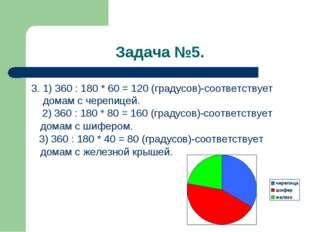 Задача №5. 3. 1) 360 : 180 * 60 = 120 (градусов)-соответствует домам с черепи