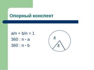 Опорный конспект a/n + b/n = 1 360 : n * a 360 : n * b