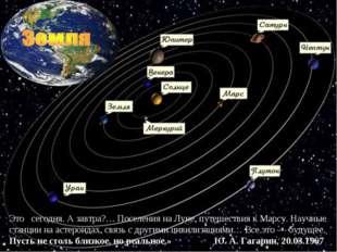 Это сегодня. А завтра?… Поселения на Луне, путешествия к Марсу. Научные станц