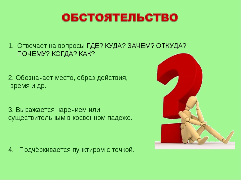 Отвечает на вопросы ГДЕ? КУДА? ЗАЧЕМ? ОТКУДА? ПОЧЕМУ? КОГДА? КАК? 2. Обознача...