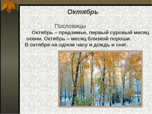 Октябрь Пословицы Октябрь – предзимье, первый суровый месяц осени. Октябрь –...