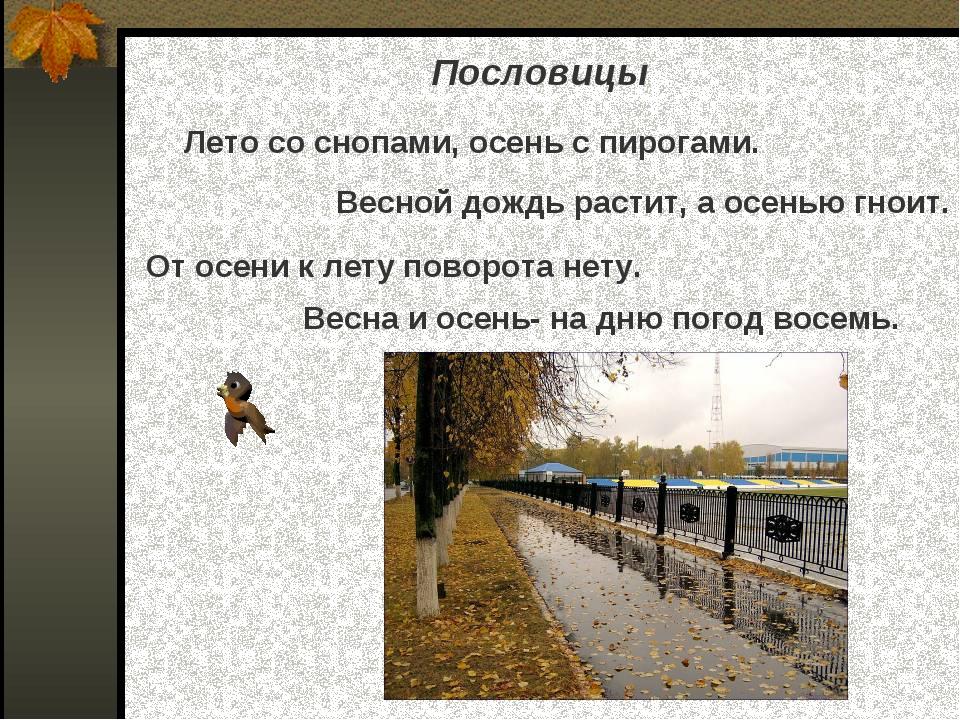 Пословицы Лето со снопами, осень с пирогами. Весной дождь растит, а осенью г...