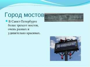 Город мостов В Санкт-Петербурге более трехсот мостов, очень разных и удивител