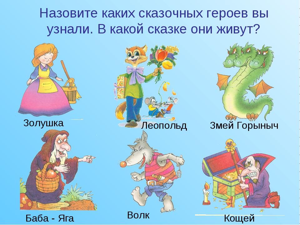 Назовите каких сказочных героев вы узнали. В какой сказке они живут? Золушка...