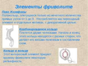 Элементы фриволите Пико Жозефины Полукольцо, плетущееся только из нечетного к