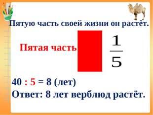 Пятая часть – это Пятую часть своей жизни он растёт. 40 : 5 = 8 (лет) Ответ: