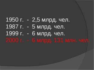 1950 г. - 2,5 млрд. чел. 1987 г. - 5 млрд. чел. 1999 г. - 6 млрд. чел. 2000