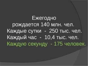 Ежегодно рождается 140 млн. чел. Каждые сутки - 250 тыс. чел. Каждый час - 10