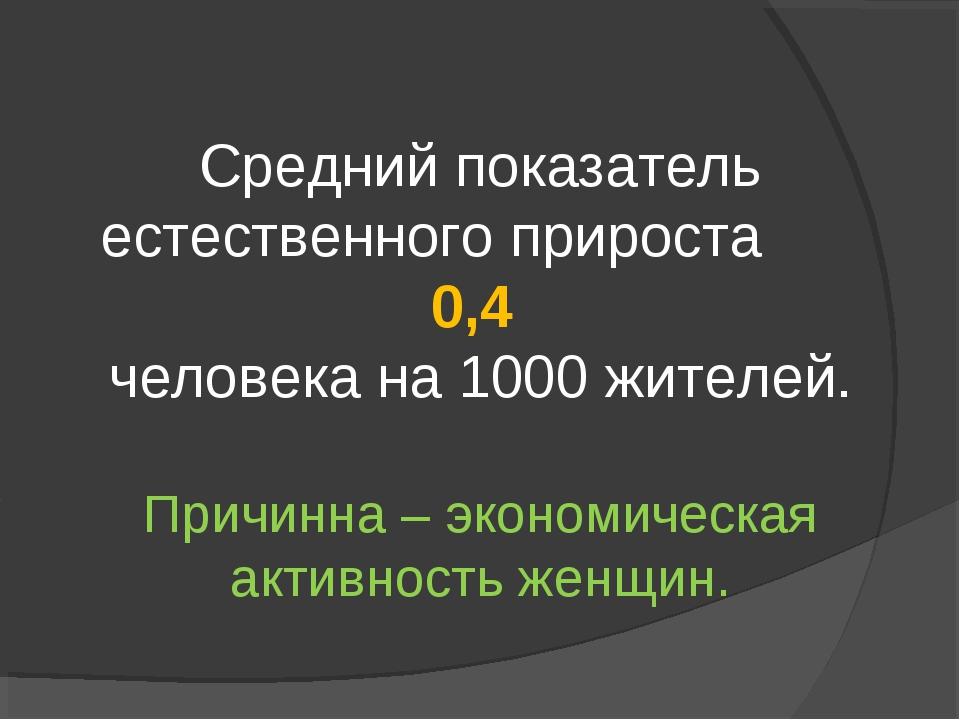 Средний показатель естественного прироста 0,4 человека на 1000 жителей. Причи...