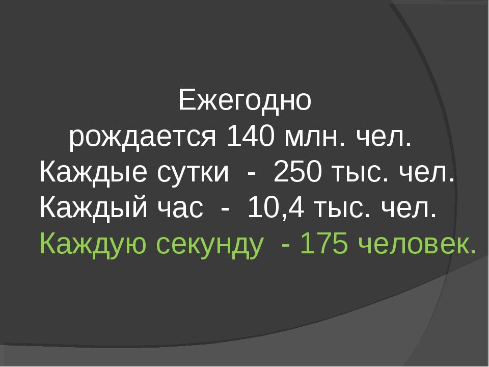 Ежегодно рождается 140 млн. чел. Каждые сутки - 250 тыс. чел. Каждый час - 10...