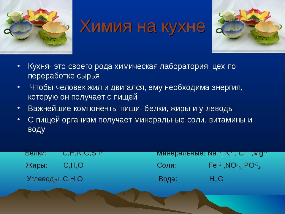 Химия на кухне Кухня- это своего рода химическая лаборатория, цех по перерабо...
