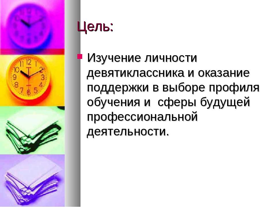 Цель: Изучение личности девятиклассника и оказание поддержки в выборе профиля...