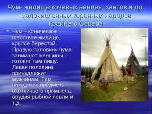 Чум- жилище кочевых ненцев, хантов и др. малочисленных коренных народов Крайн