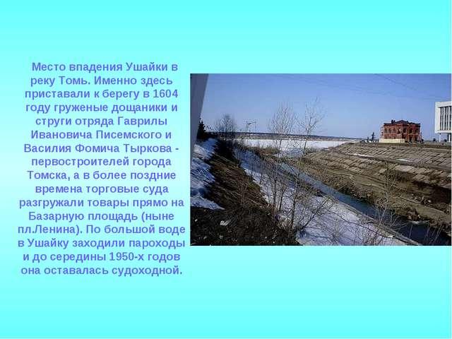 Место впадения Ушайки в реку Томь. Именно здесь приставали к берегу в 1604...