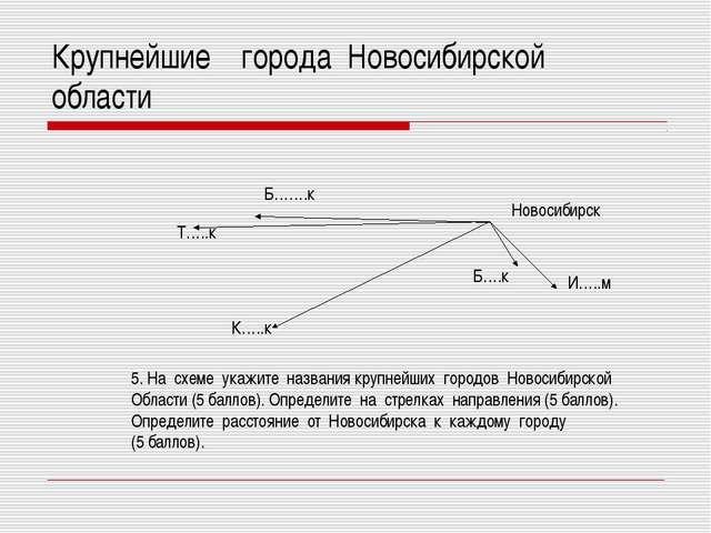 Крупнейшие города Новосибирской области Новосибирск И…..м Б….к К…..к Т…..к Б…...