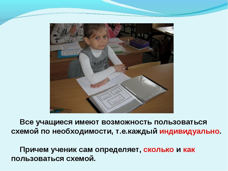 Все учащиеся имеют возможность пользоваться схемой по необходимости, т.е.каж...