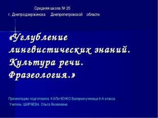 Средняя школа № 25 г. Днепродзержинска Днепропетровской области «Углубление